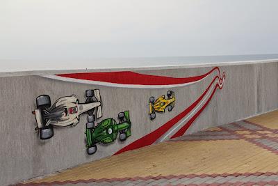 граффити Формулы-1 на набережной Сочи на Гран-при России 2014
