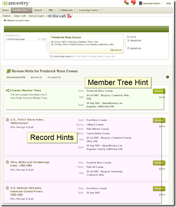 When looking at a person's hints, the first one is for member trees, followed by the record hints.