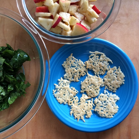 parmesan frico with marinated spinach and apples