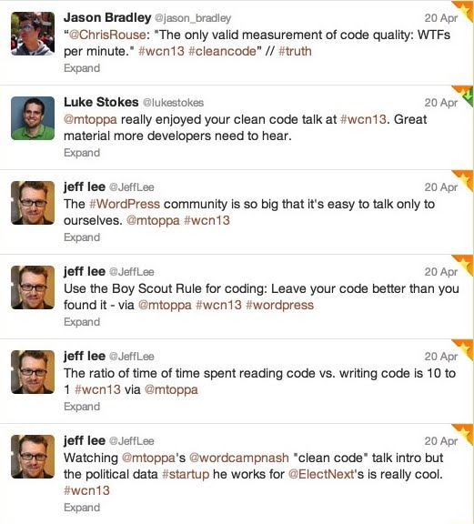 "Tweets about the ""Clean Code"" presentation at WordCamp Nashville 2013"