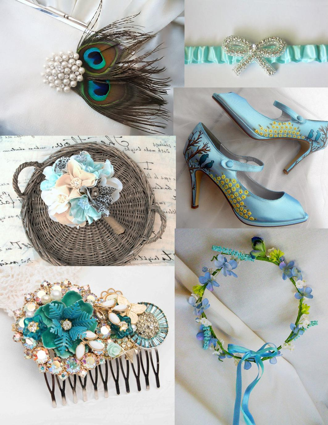 blue wedding items from Etsy