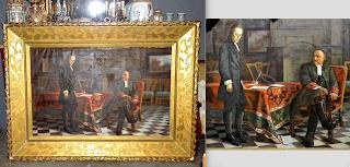 Большая антикварная картина с изображением Петра I 19-й век. Холст, масло. Деревянная позолоченная рама. Размер с рамой 197/144 см. 5000 евро.
