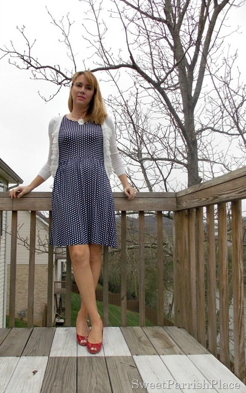 navy polka dot dress, white ruffle cardigan, red peep toe wedges1