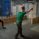 losing badly at BATL axe throwing Toronto in Toronto, Ontario, Canada