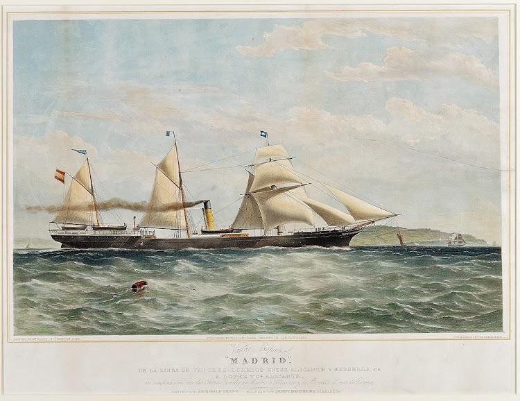 Litografia coloreada del vapor MADRID. Artista William Clark. Enero de 1858. National Maritime Museum.jpg