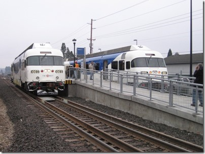 IMG_5400 TriMet Westside Express Service DMUs #1003 & #1001 at the Tigard Transit Center in Tigard, Oregon on January 30, 2009