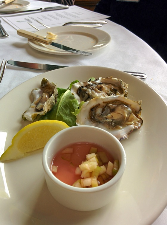 Fresh Oysters with Cucumber and Granny Smith Apple Mignonette