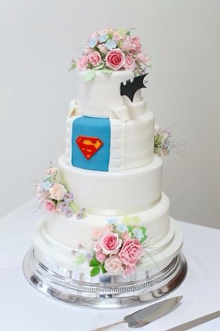 Kasserina Pastels And Superheroes Wedding Cake August 2015 - Fudge Wedding Cake