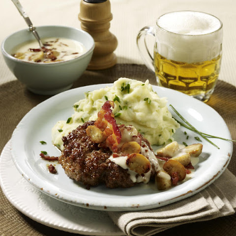 Mushroom and Bacon Cream Burger with Herb Mashed Potatoes