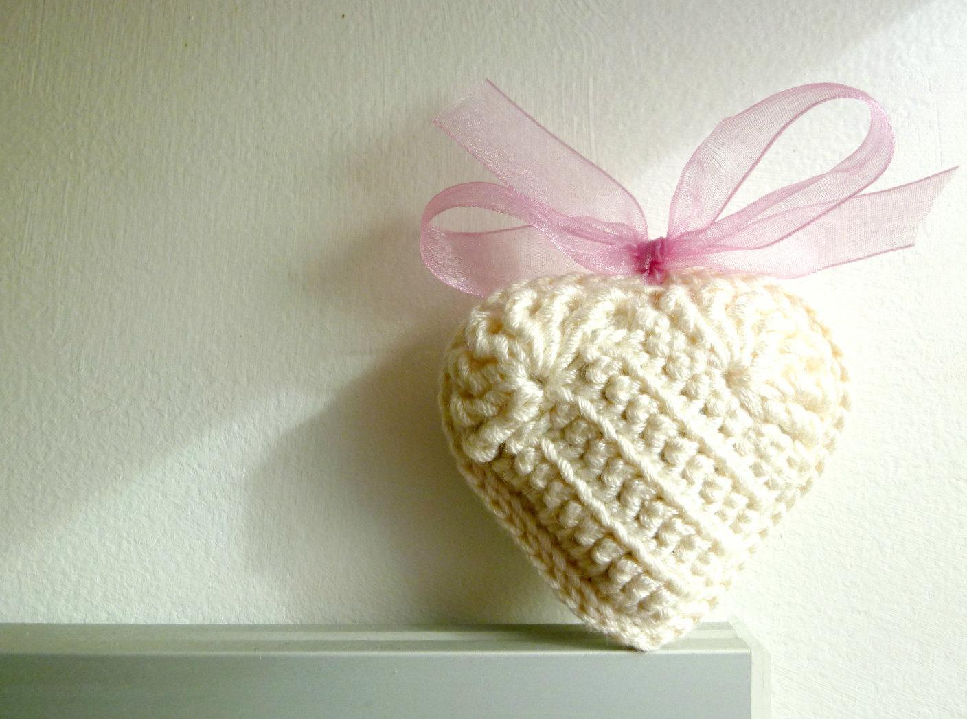 Ivory Crochet Heart with