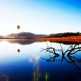 Up, up and away... by Lana Nolte - Landscapes Travel ( water, hot air balloon, tranquil, serene, balloon )