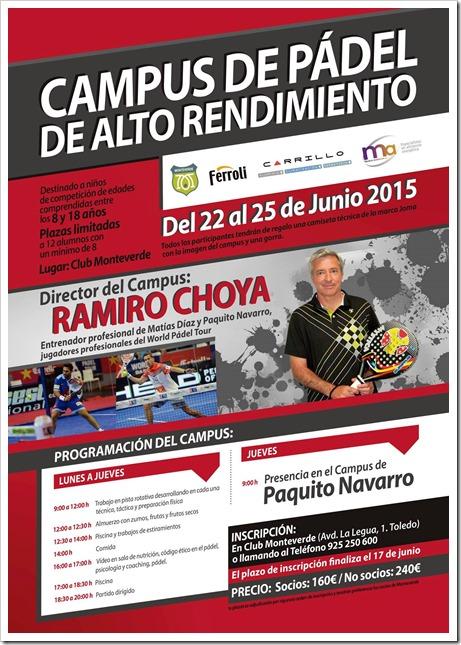 Campus Pádel Alto Rendimiento para menores dirigido por Ramiro Choya en el Club Monteverde, 22-25 Junio 2015.