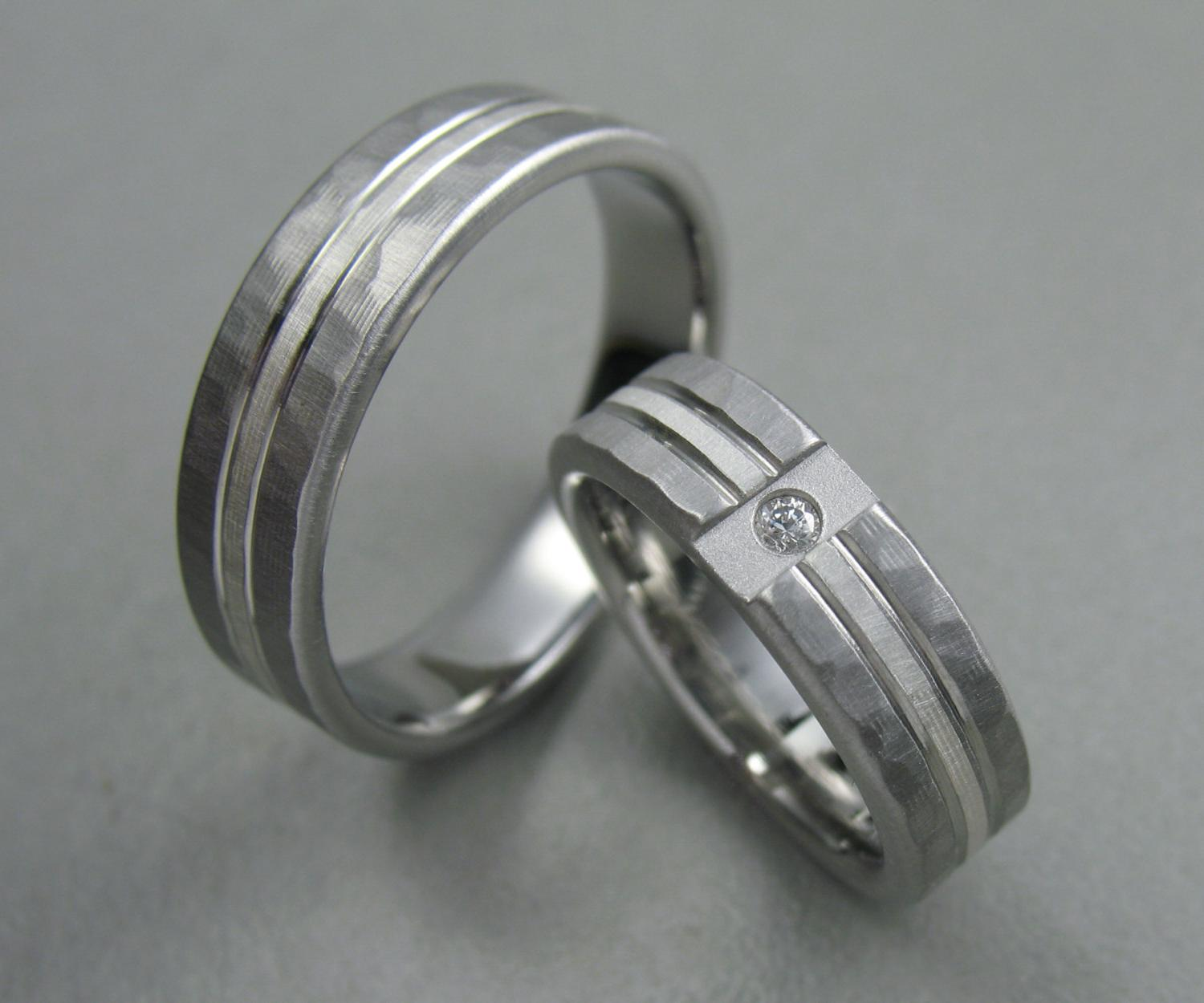 Wedding Ring Set Hammered