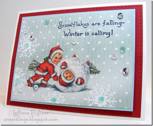 LeAnne Pugliese WeeInklings Paper Players 274 Winter is Calling Vintage Snowbabies Christmas
