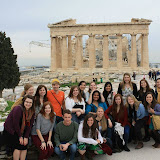 Half of our Group Poses before the Parthenon