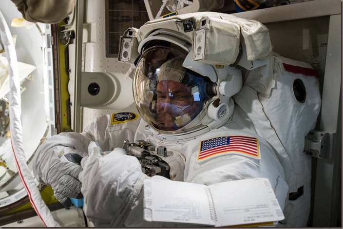 Scott Keely pepares for a space walk