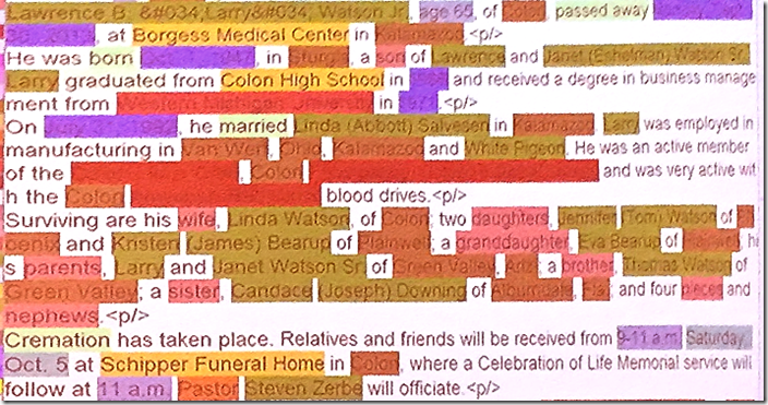 An obituary color-coded by robo-keying software