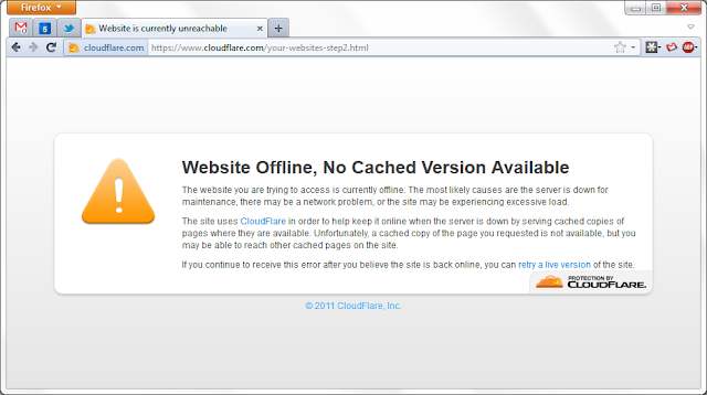 Website Offline, No Cached Version Available