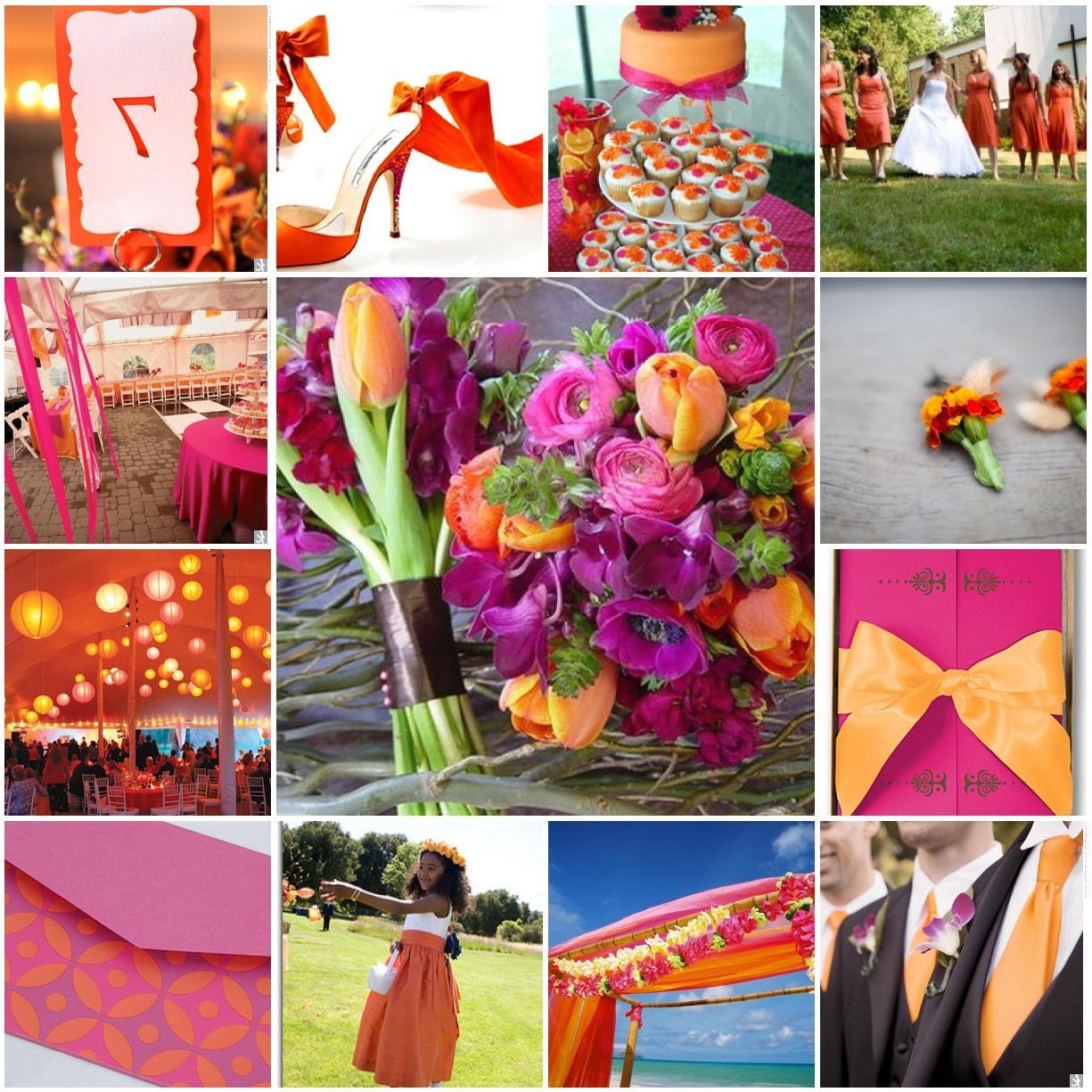 pink and orange wedding,