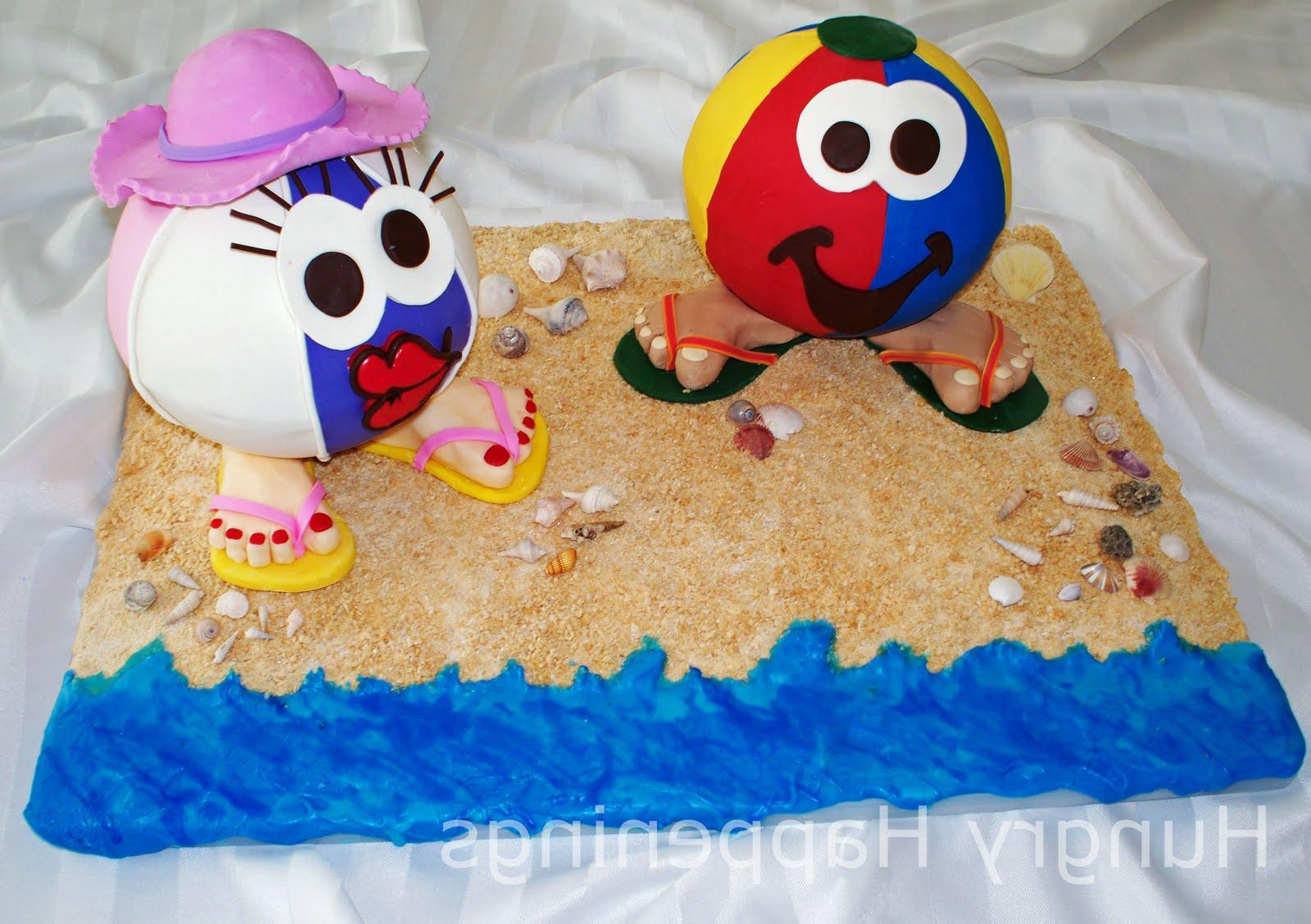 a beach themed cake in