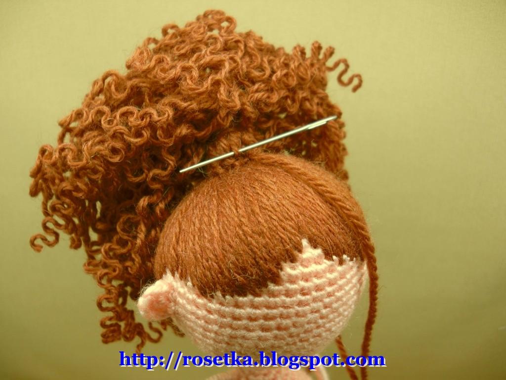 Как крючком связать волосы кукле
