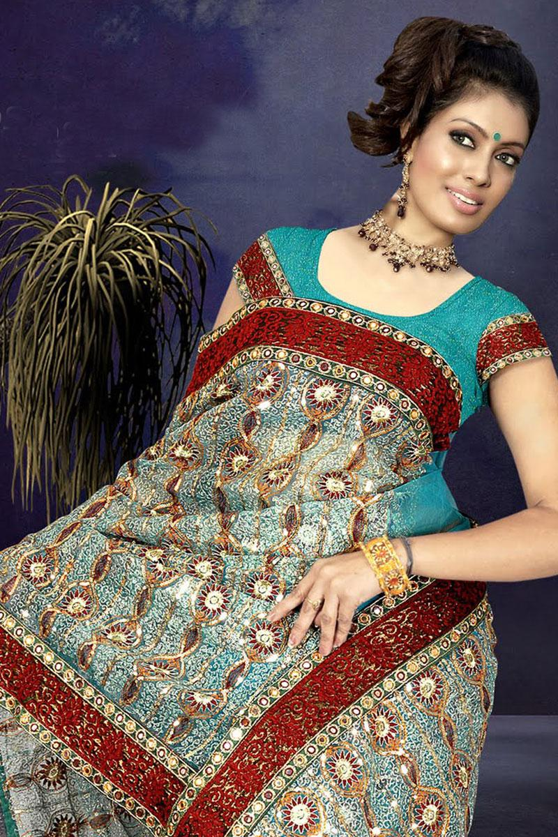 Sky Blue Wedding and Festival Net Embroidered Saree   45.54