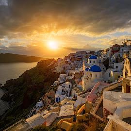 Sunny D in Finikia by Jose Hamra - Buildings & Architecture Homes ( home, sunset, greece, finikia, sunrise, oia, santorini, city, island,  )