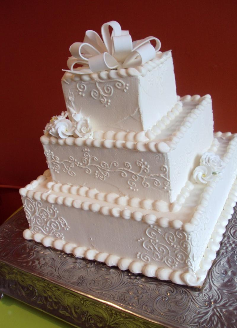 tier Square White Wedding