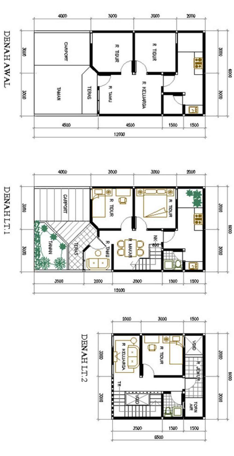 gambar denah 2 lantai 6x12 idaman