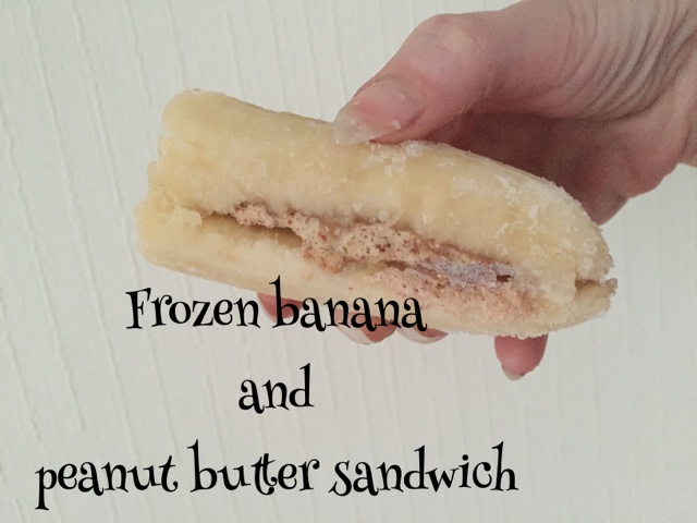 frozen banana and peanut butter sandwich