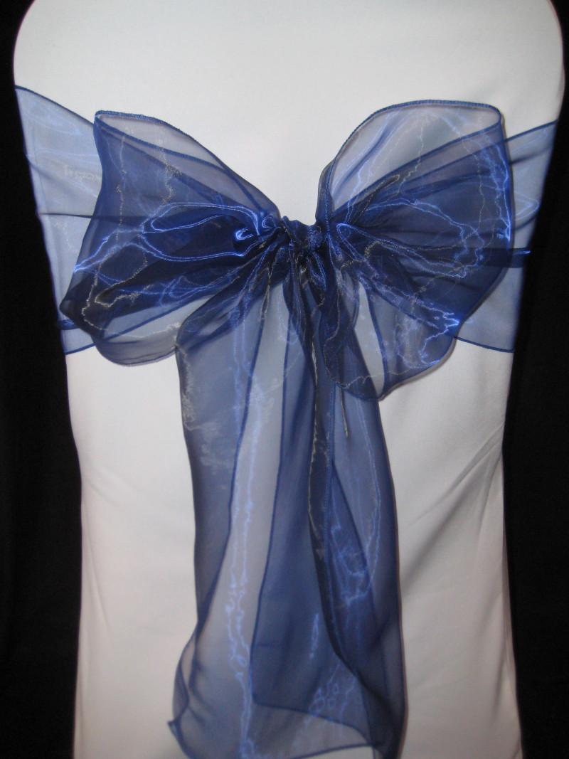 100 NAVY BLUE ORGANZA WEDDING BANQUET CHAIR SASHES BOWS   eBay