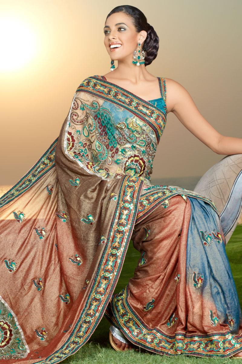 Dark Salmon Orange and Columbia Blue Embroidered Saree   170.00
