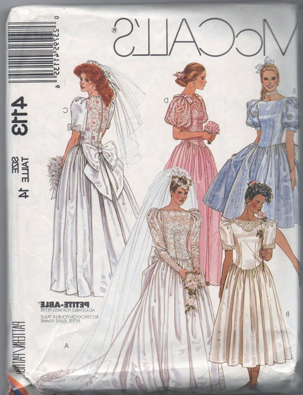 1980s UNCUT pattern VINTAGE McCalls 4113 size 14 misses bridal and