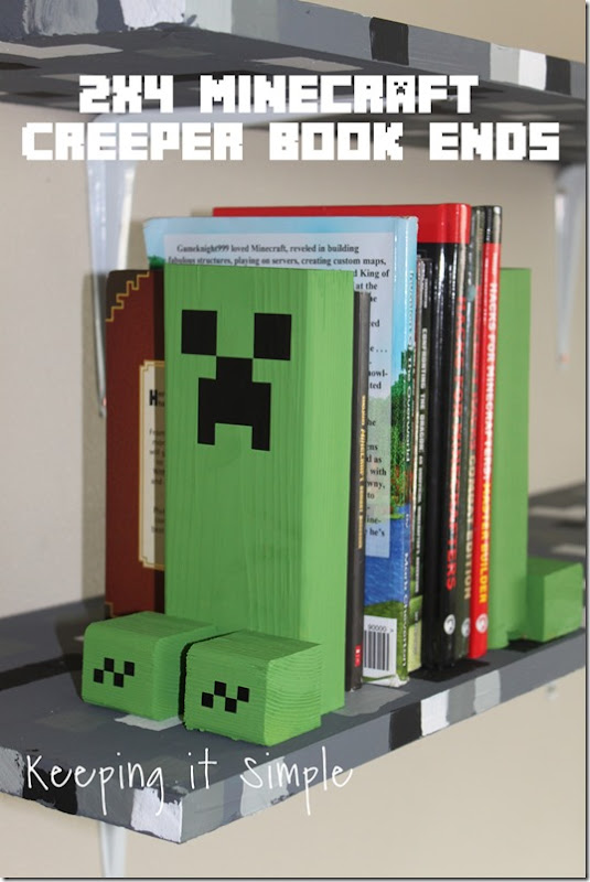 Easy-DIY-Minecraft-Creeper-Book-Ends