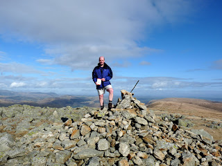 Richard completes his Far Eastern Fells and displays the necessary Wainwright Book as he stands on High Raise. Well done to Richard!!