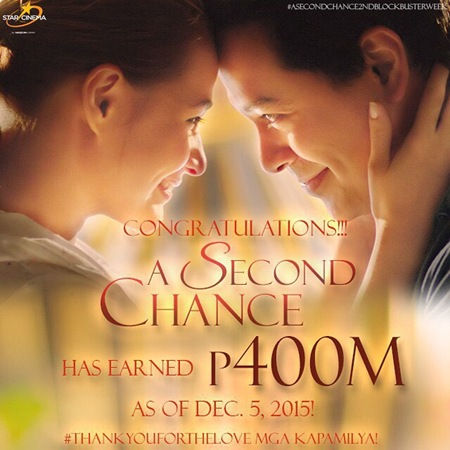 A Second Chance earns P400M as of Dec 5 2015