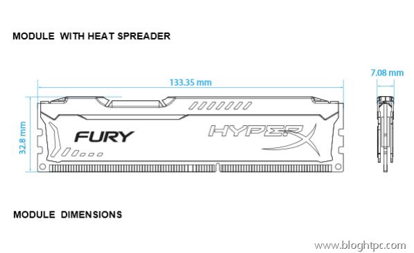 Dimensiones HyperX FURY