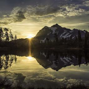 Shuksan Sunrise by Clement Stevens - Landscapes Sunsets & Sunrises ( clouds, reflection, sky, mountain, snow, sunrise )