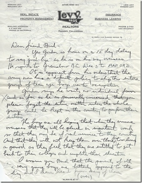 Bertrand Gearhart 11_17_1945 page 1 handwritten