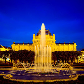 Zagreb at night by Jurica Žumberac - City,  Street & Park  Fountains ( water, building, park, blue, blue hour, fountain, long exposure, night, architecture, cityscape, nightscape, city )