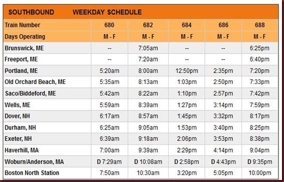 DE Southbound Schedule