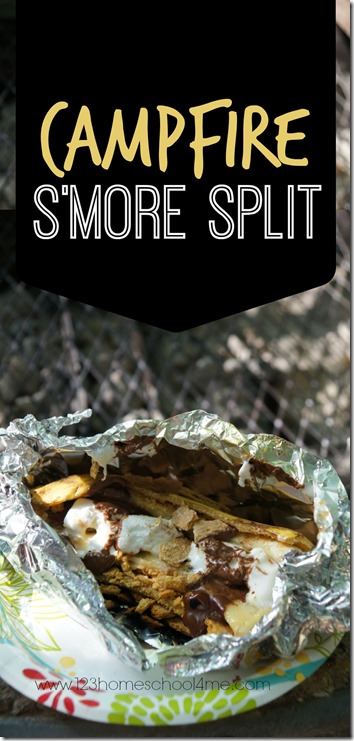 Campfire Smore Split - this is such a clever campfire dessert to change it up from the traditional smores on your next family camping trip.