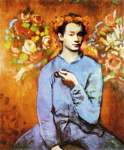 """""""נער עם מקטרת"""" ציור של פבלו פיקסו  -קרן מדלן ואורפז-"""