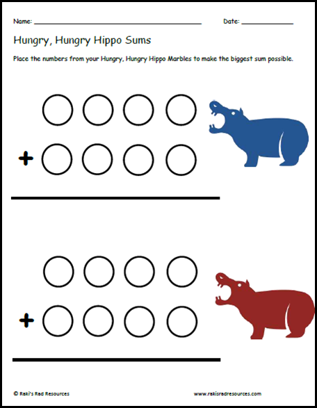 Hungry, hungry hippos sums sheet - free download from Raki's Rad Resources for your math center.