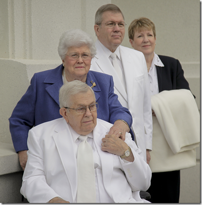 President Boyd K. Packer with wife, Donna, son, Allan, and daughter-in-law, Terri