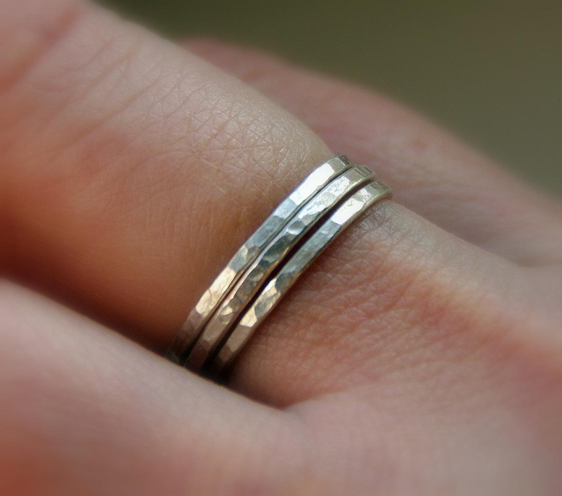 SET OF 3 sterling silver stacking band rings hammered texture, sizes 4, 5,