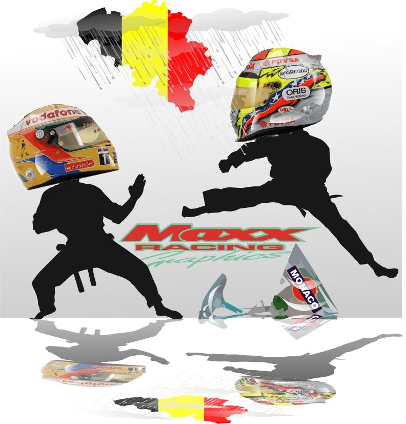 иллюстрация Maxx Racing - стычка Льюиса Хэмилтона и Пастора Мальдонадо на Гран-при Бельгии 2011