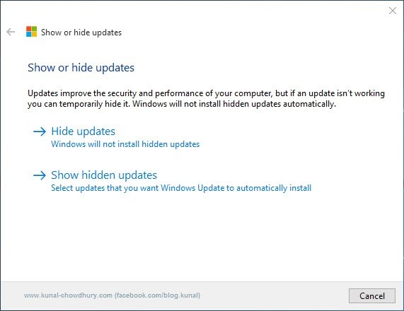 3. Show or Hide updates Troubleshooter - Hide or Unhide