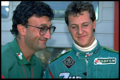 Эдди Джордан и Михаэль Шумахер на Гран-при Бельгии 1991