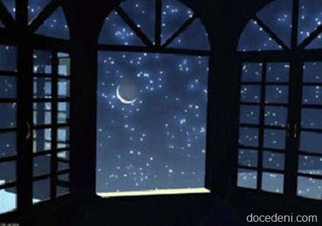 céu estrelado pela janela